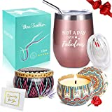 Wine Tumbler with Saying + Scented Candles Gift Set | Not A...