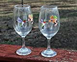 Hummingbird with Flowers Hand Painted Stemmed Wine Glasses...