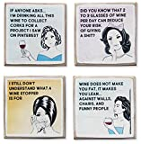 Zumatico 4 Funny Wine Coasters Set & Holder | Rustic Wood...